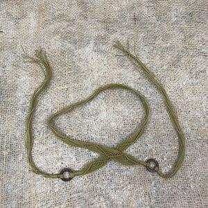 Accessories - Vintage Macrame-Style Green Tie Belt